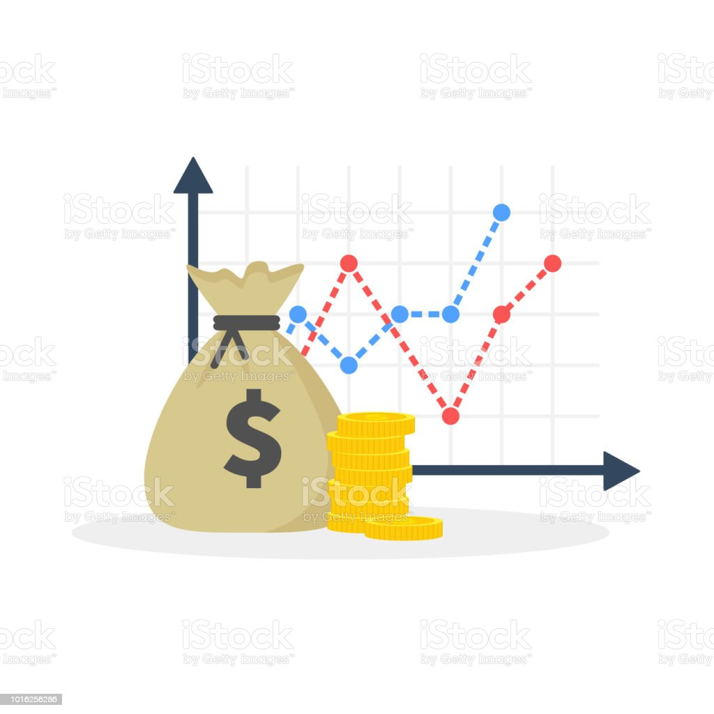 Income increase strategy, Financial high return on investment, fund raising, revenue growth, interest rate, loan installment, credit money, budget balance. Flat design, vector illustration on background. vector art illustration