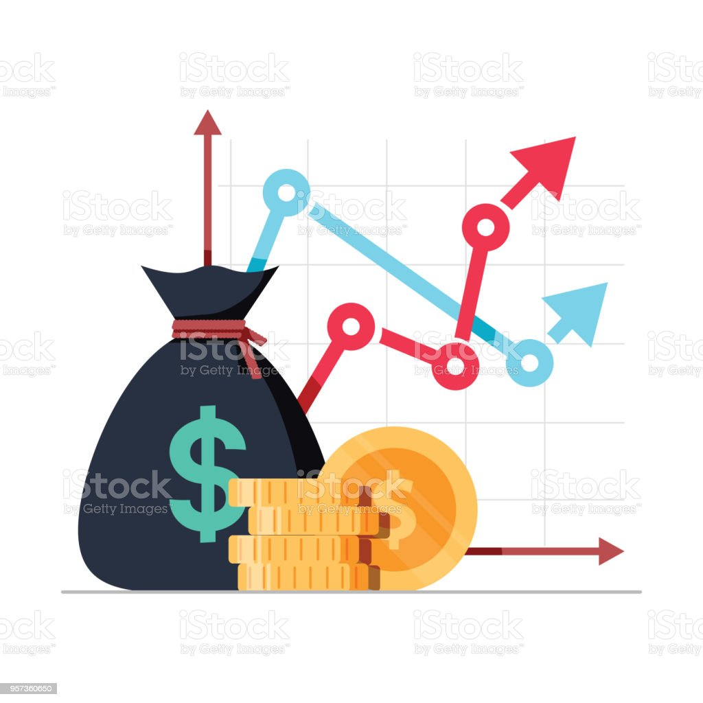 Income increase strategy, Financial high return on investment, fund raising and revenue growth interest rate Income increase strategy. Financial high return on investment, fund raising or revenue growth interest rate. Loan installment and credit money, budget balance. Isolated flat design vector illustration Arrow Symbol stock vector
