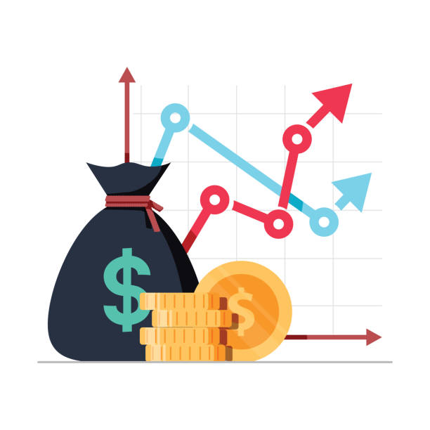 Income increase strategy, Financial high return on investment, fund raising and revenue growth interest rate Income increase strategy. Financial high return on investment, fund raising or revenue growth interest rate. Loan installment and credit money, budget balance. Isolated flat design vector illustration expense stock illustrations
