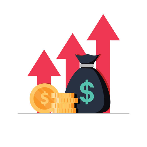 Income increase strategy, Financial high return on investment, fund raising and revenue growth or interest rate. Income increase strategy. Financial high return on investment, fund raising and revenue growth or interest rate. Loan installment, credit money budget balance. Flat design vector illustration isolated high up stock illustrations