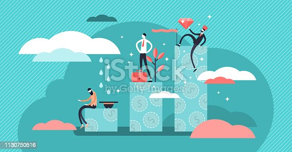 Income class vector illustration. Flat three levels tiny persons wealth concept. Economical system symbolic chart with poor, middle and rich society parts. Hierarchy and income level difference.