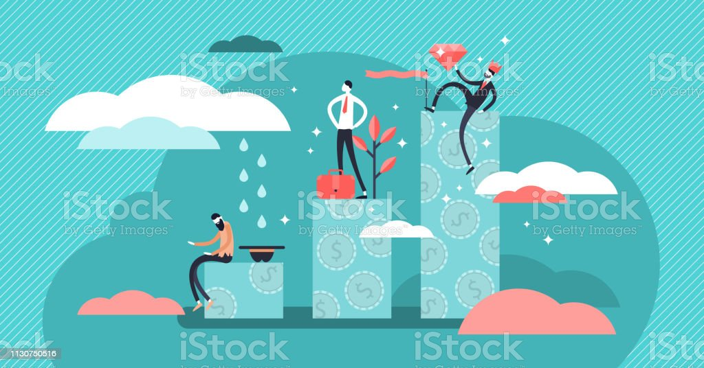 Income level concept vector illustration. Three levels tiny persons wealth concept. vector art illustration