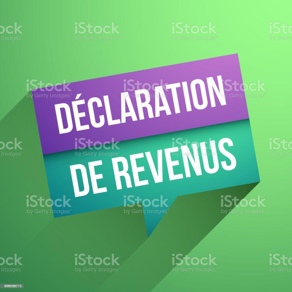 Einkommensteuererklärung in französischer Sprache: Déclaration de Einkommen - Lizenzfrei Bezahlen Vektorgrafik