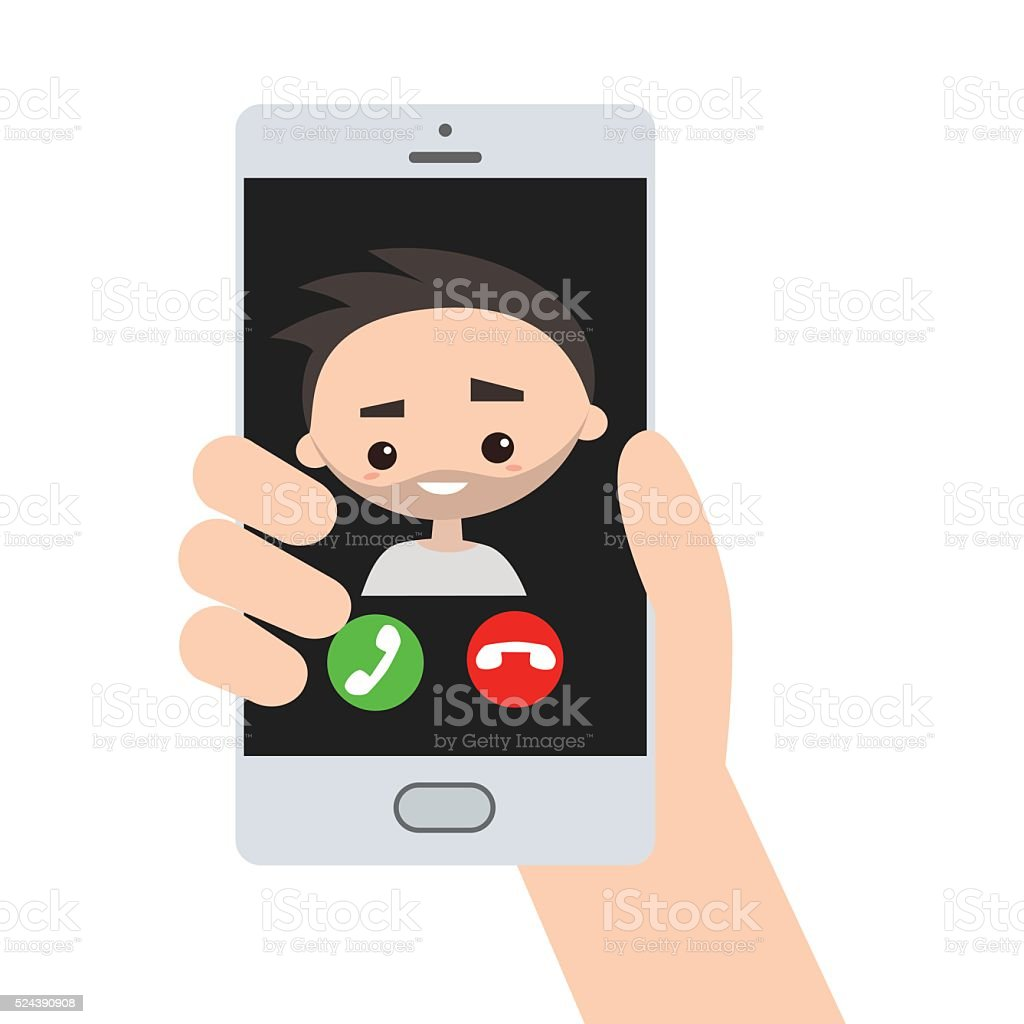 Incoming call, bearded handsome guy vector art illustration