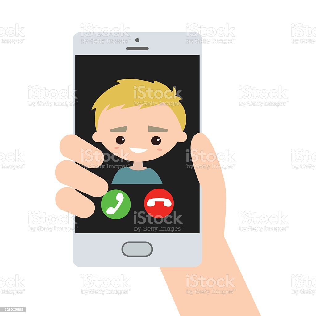 Incoming call, blond handsome guy vector art illustration