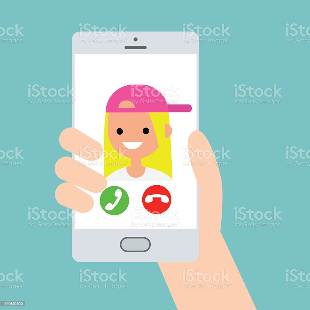 Incoming call from funny teenage millennial girl vector art illustration
