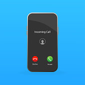 istock Incoming call in flat style. Perspective vector. Accept button, decline button. Black background. Vector flat design. Call screen mockup. 1284205496