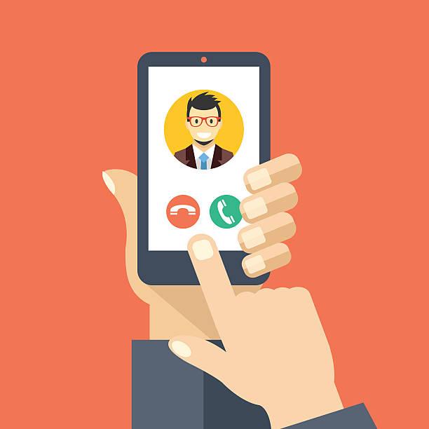 ilustrações de stock, clip art, desenhos animados e ícones de chamada recebida no ecrã do smartphone. criativo de design de ilustração vetorial plana - video call