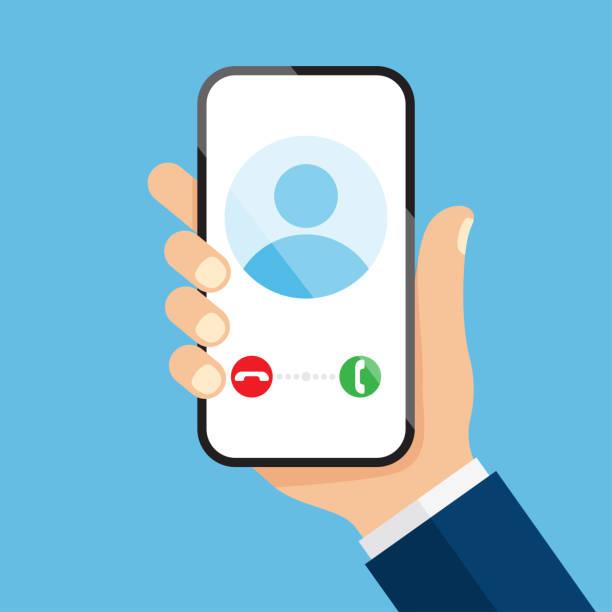 illustrations, cliparts, dessins animés et icônes de appel entrant sur l'écran du smartphone - main téléphone