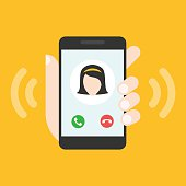 Incoming call on smartphone screen. Calling service. Hand holds smartphone.
