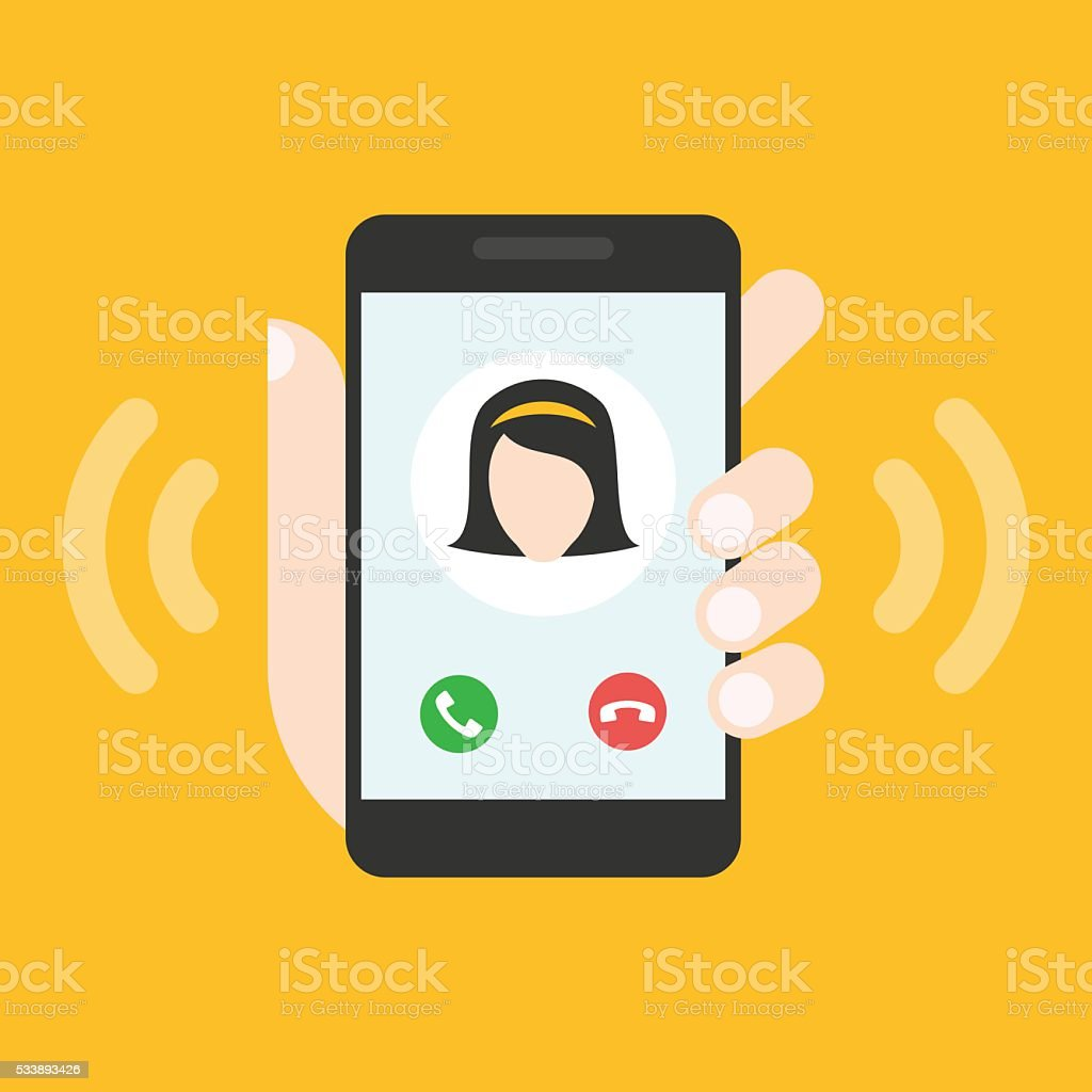 Incoming call on smartphone screen vector art illustration
