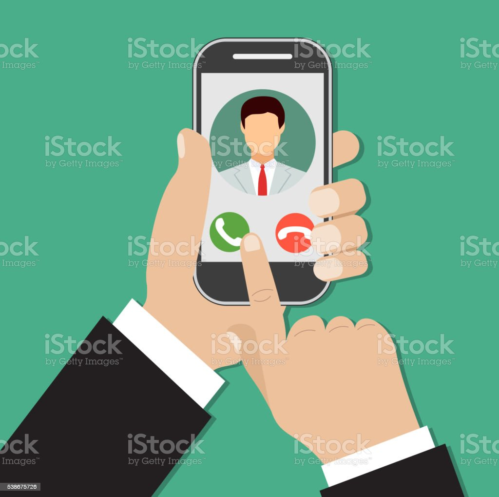 Incoming call on smartphone screen. vector art illustration