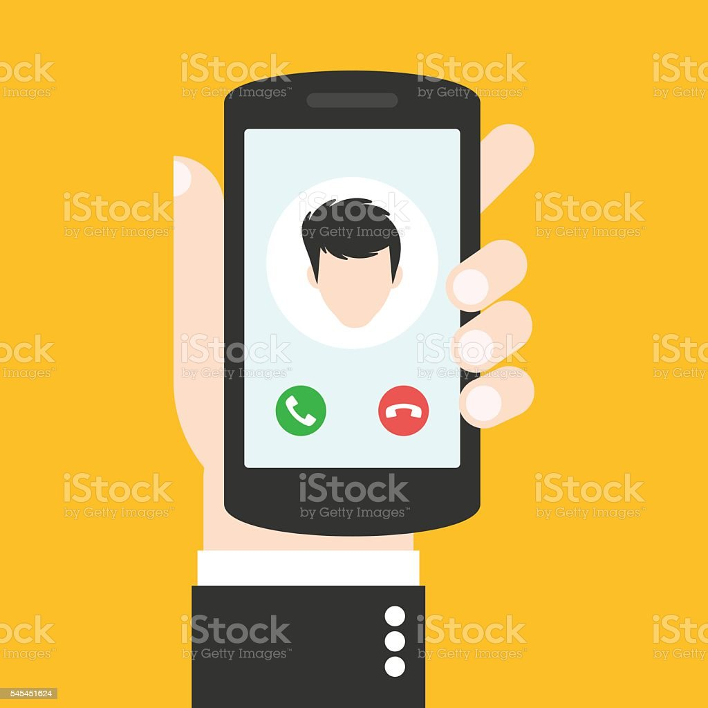 Incoming call on the phone which is in the hand vector art illustration