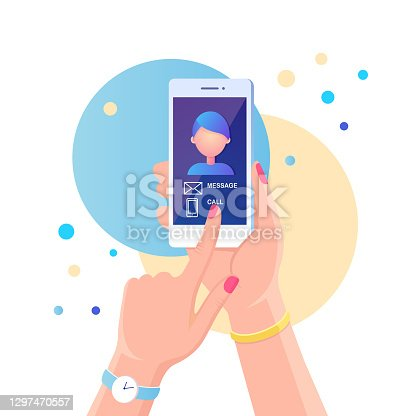 istock Incoming call. Person hold white mobile phone with calling service. Smartphone with message, call notification on screen. Male photo on display. Vector flat design 1297470557