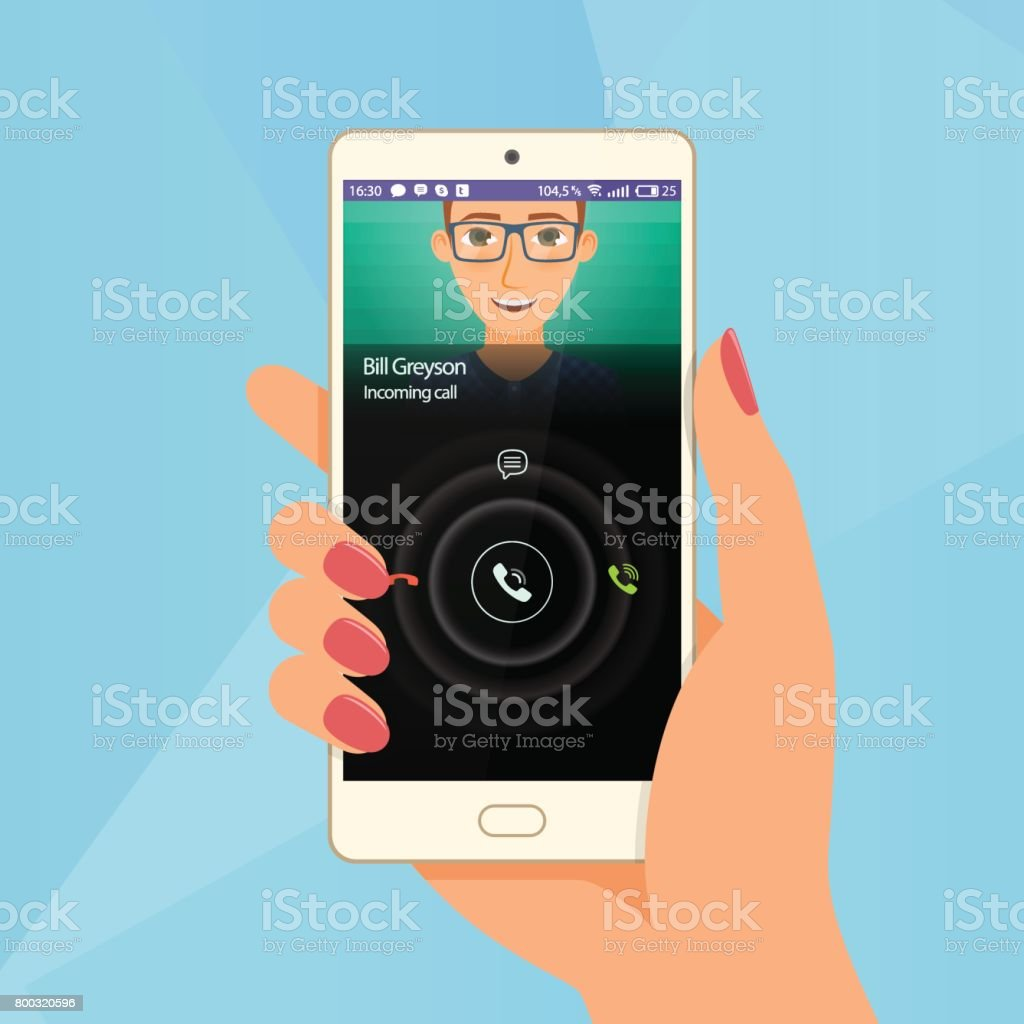Incoming call via mobile application on smartphone. Hand hold a vector art illustration