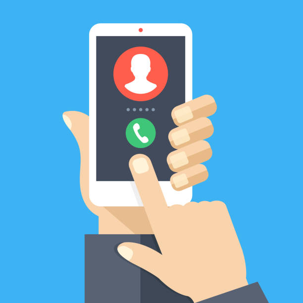 Incoming call. White smartphone with call screen. Answer the phone concept. Human hand holding cellphone, finger touching screen. Modern flat design graphic elements and objects. Vector illustration Incoming call. White smartphone with call screen. Answer the phone concept. Human hand holding cellphone, finger touching screen. Modern flat design graphic elements and objects. Vector illustration video call stock illustrations