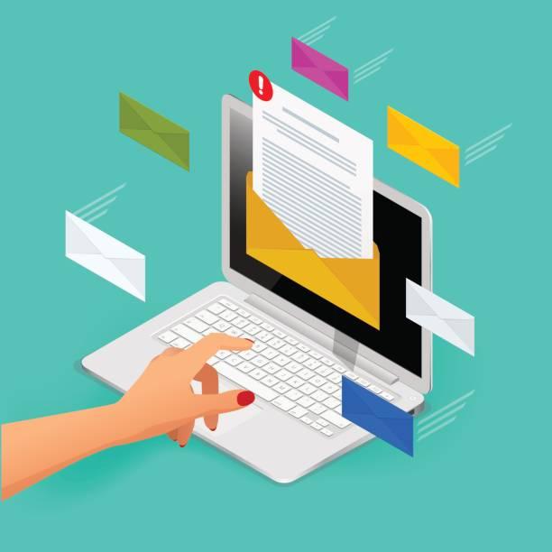 stockillustraties, clipart, cartoons en iconen met binnenkomende e-mail isometrische vector concept. het ontvangen van berichten. laptop met envelop en document op een scherm. e-mail, e-mail marketing, internet reclameconcepten. - versturen