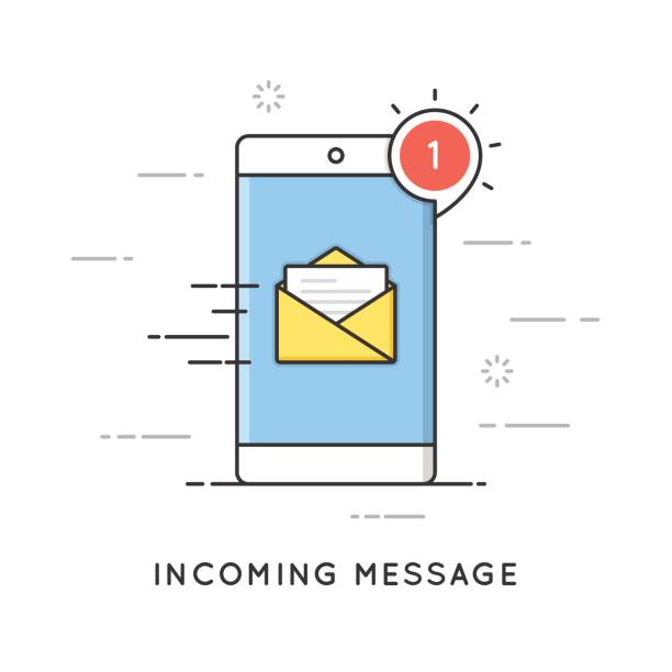 incoming email notification, new message. flat line art style concept. vector banner, icon, illustration. - email icon stock illustrations, clip art, cartoons, & icons