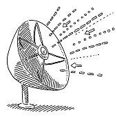 Incoming Signal Satellite Dish Drawing