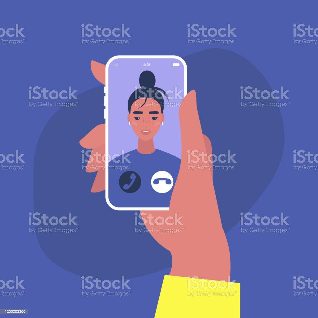 Eingehende Videoanruf, Ein Porträt einer jungen weiblichen Figur auf einem Handy-Bildschirm, Millennial Lebensstil - Lizenzfrei Am Telefon Vektorgrafik
