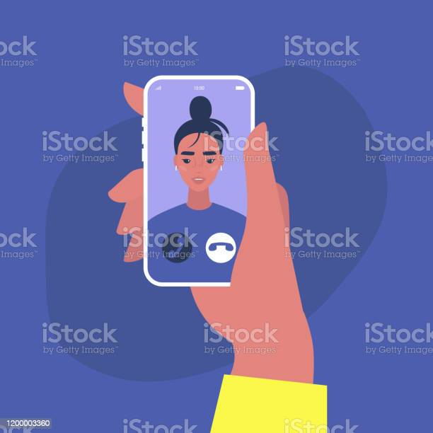 Eingehende Videoanruf Ein Porträt Einer Jungen Weiblichen Figur Auf Einem Handybildschirm Millennial Lebensstil Stock Vektor Art und mehr Bilder von Am Telefon
