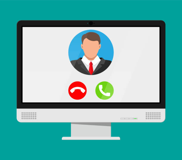 incoming video call on computer - virtual meeting stock illustrations