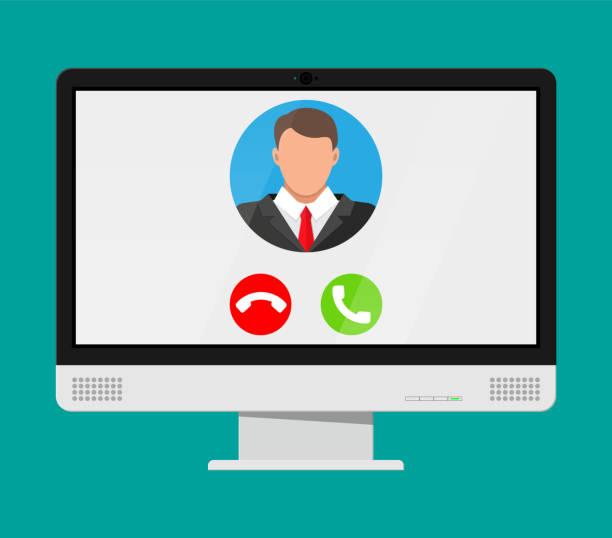 電腦上的傳入視頻呼叫 - virtual meeting 幅插畫檔、美工圖案、卡通及圖標