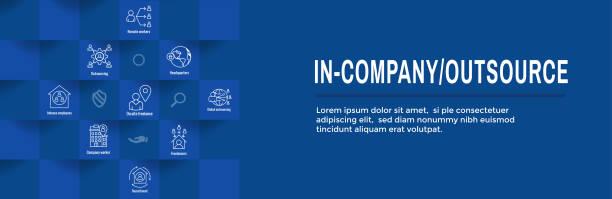 ilustrações de stock, clip art, desenhos animados e ícones de in-company and outsource icon set - web header banner - remote work