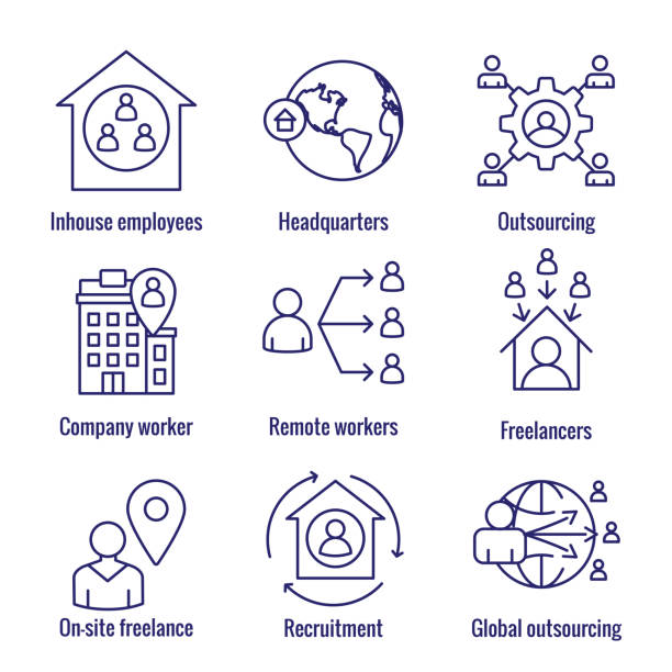 in-company and outsource icon set with headquarters, and freelancers, etc - work from home stock illustrations