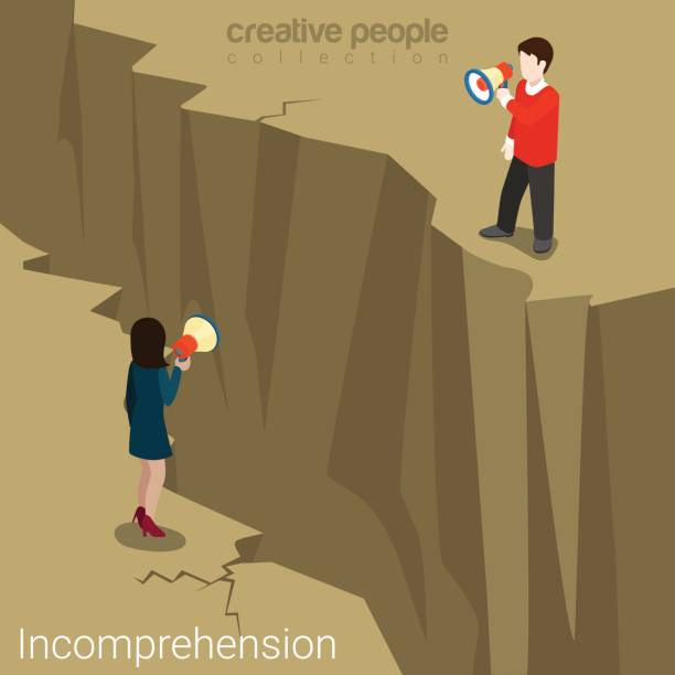 incomprehension couple man woman talking megaphone loudspeaker opposite sides abyss chasm. flat web site vector illustration. misunderstanding conflict opposition business concept. - communication problems stock illustrations, clip art, cartoons, & icons