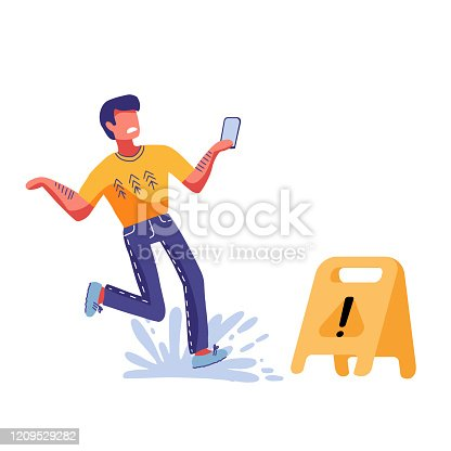 Inconsiderate man character do not see warning yellow sign and slips fall on wet floor. Recklessness folly concept element. Vector flat cartoon graphic illustration.