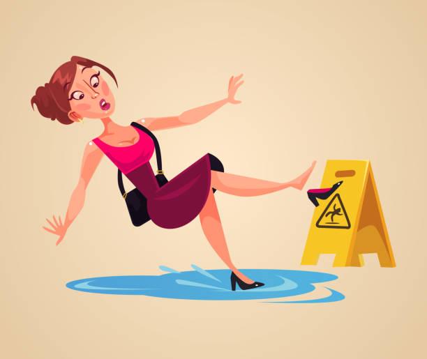 stockillustraties, clipart, cartoons en iconen met onachtzaam vrouw teken glijdt op natte vloer - woman water