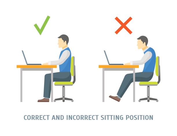 Incorrect and Correct Sitting Position Card. Vector Incorrect and Correct Sitting Position Man Card Healthcare Concept. Flat Design Style. Vector illustration posture stock illustrations