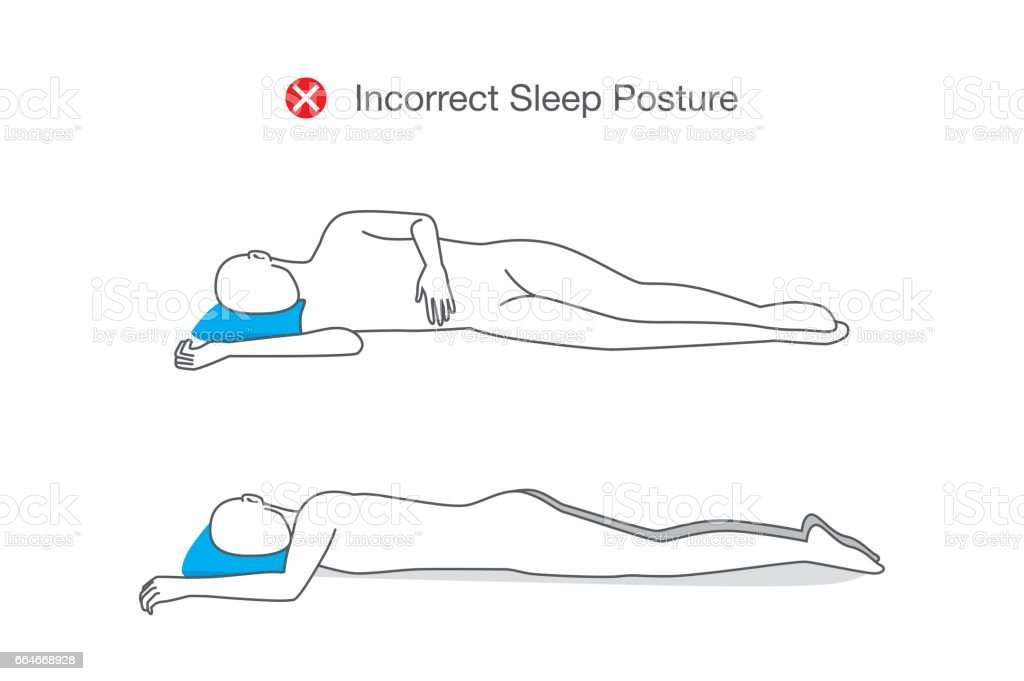 Incorrect sleeping positions can affect your whole body. vector art illustration