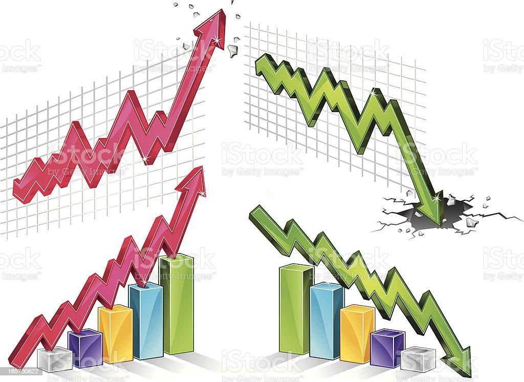 increase and decrease vector art illustration