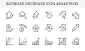 Increase decrease and arrow vector icon set, 48x48 pixel perfect and editable stroke.