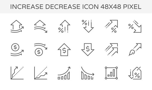 increase decrease icon - диаграмма stock illustrations