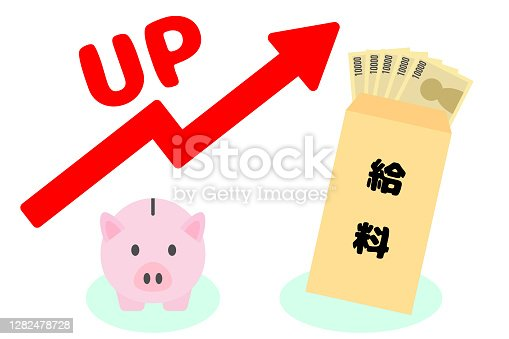 Piggy bank and salary envelope. Red arrow. Vector illustration.