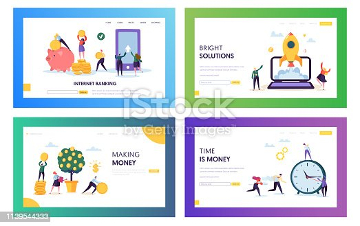 Increase Own Capital Landing Page Set. Bright Solution and Smart Choice Save and Earn Money. Internet Banking Access Account Whole Time Website or Web Page. Flat Cartoon Vector Illustration