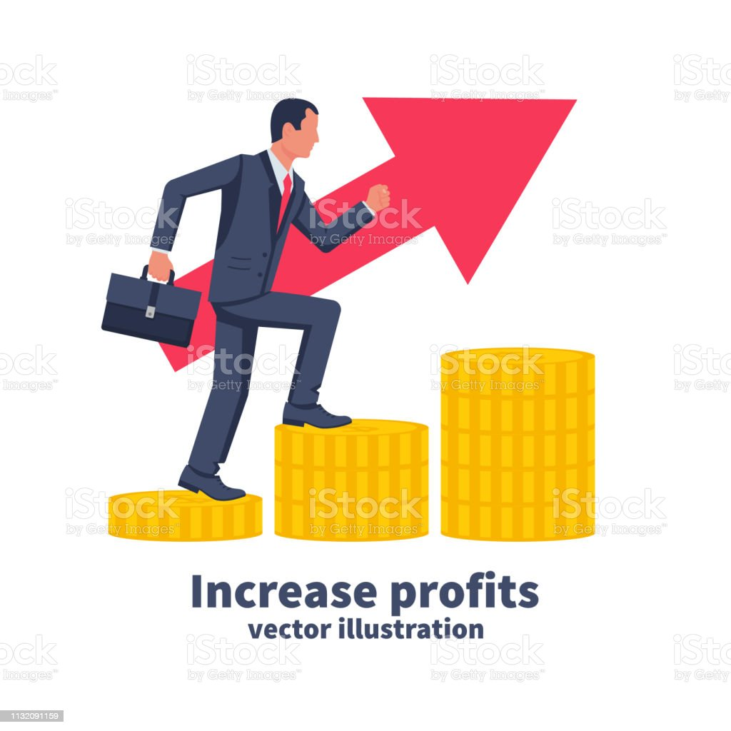 Increase profits concept. Vector illustration flat design. Isolated...