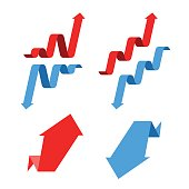 Increase, recession, growth, decline, success business flat concept illustration. Graph arrows depict increase, decrease business. Vector template element for infographic, web, presentation, networks.