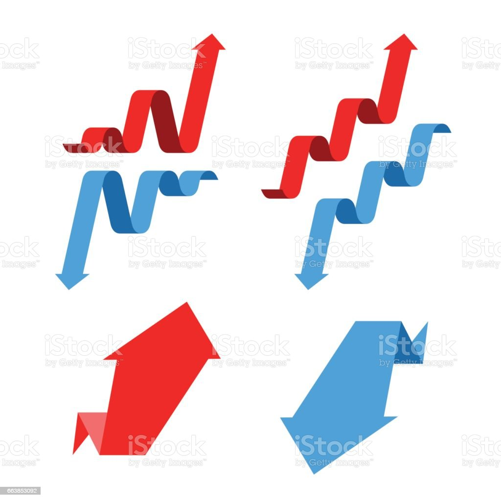 Increase, recession, growth, decline, success business arrows. Flat vector illustration. vector art illustration