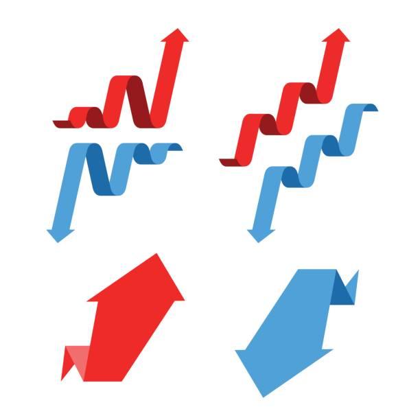 Increase, recession, growth, decline, success business arrows. Flat vector illustration. vector art illustration