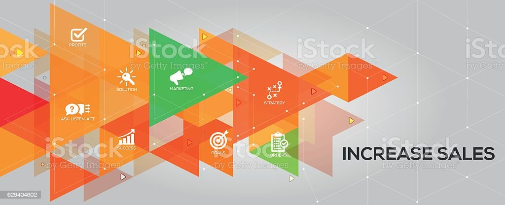 Increase Sales banner and icons vector art illustration