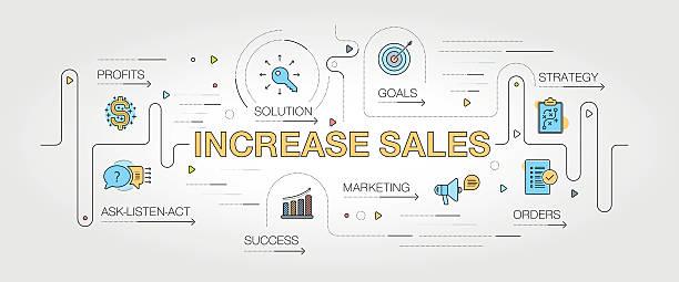 increase sales banner and icons - 小売販売員点のイラスト素材/クリップアート素材/マンガ素材/アイコン素材