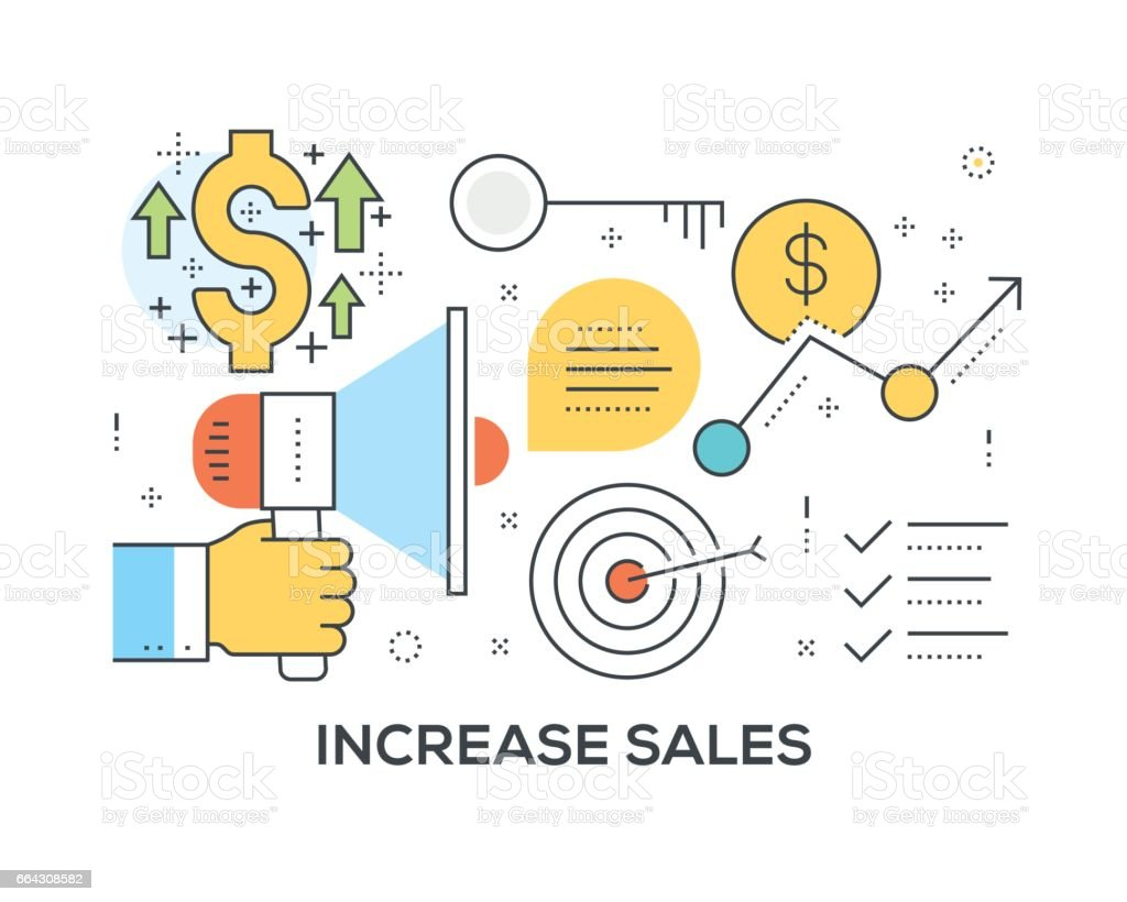 Increase Sales Concept with icons vector art illustration