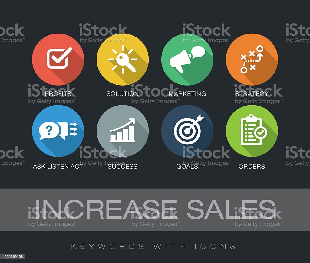 Increase Sales keywords with icons vector art illustration
