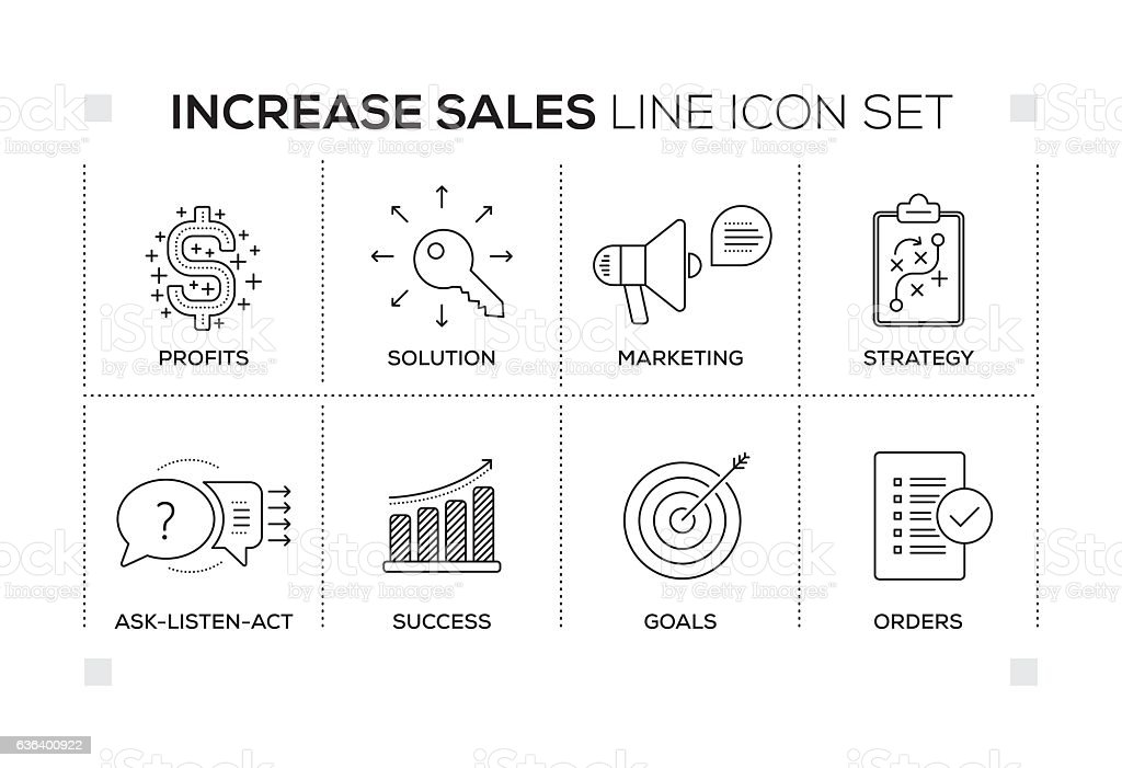 Increase Sales keywords with monochrome line icons vector art illustration