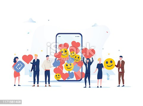 istock Increase your social media followers with successful marketing strategies, people bringing likes and reactions 1171581408
