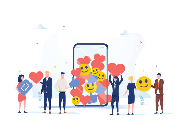 stockillustraties, clipart, cartoons en iconen met verhoog je social media volgers met succesvolle marketing strategieën, mensen die likes en reacties meenemen - klantbetrokkenheid